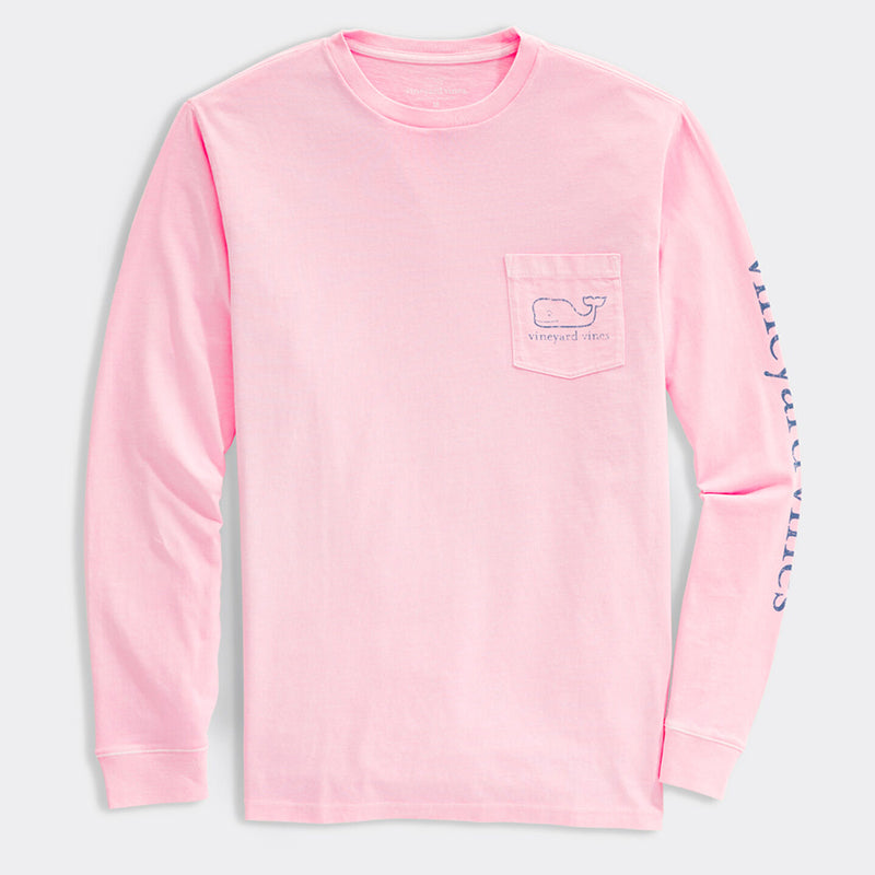 Garment Dyed Vintage Whale Pocket Long Sleeve T-Shirt