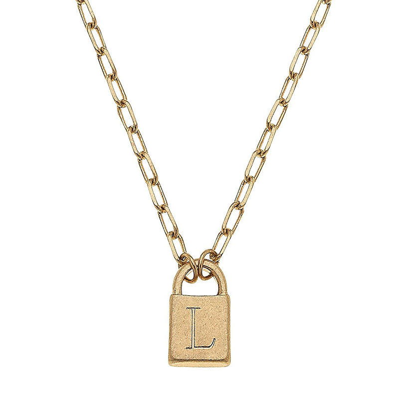 Gold Padlock Initial Necklace