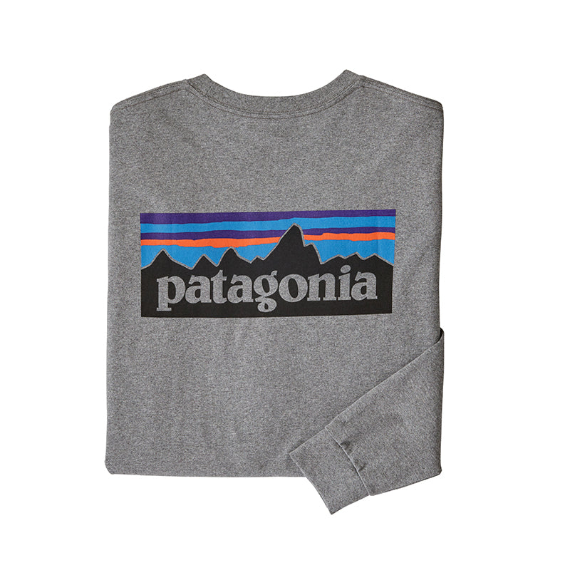 patagonia Men's Long-Sleeved P-6 Logo Responsibili-Tee® in gravel heather
