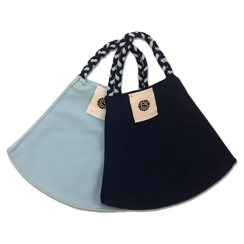 Light Blue and Navy Two-Pack Pom Face Mask