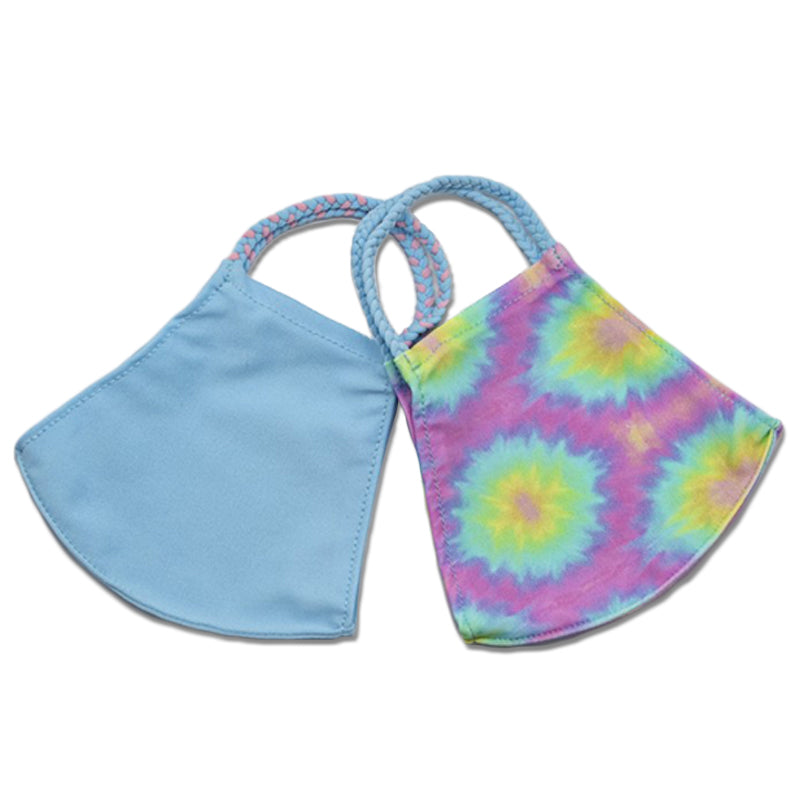 Pastel Tie Dye and Light Blue Two-Pack Pom Face Mask