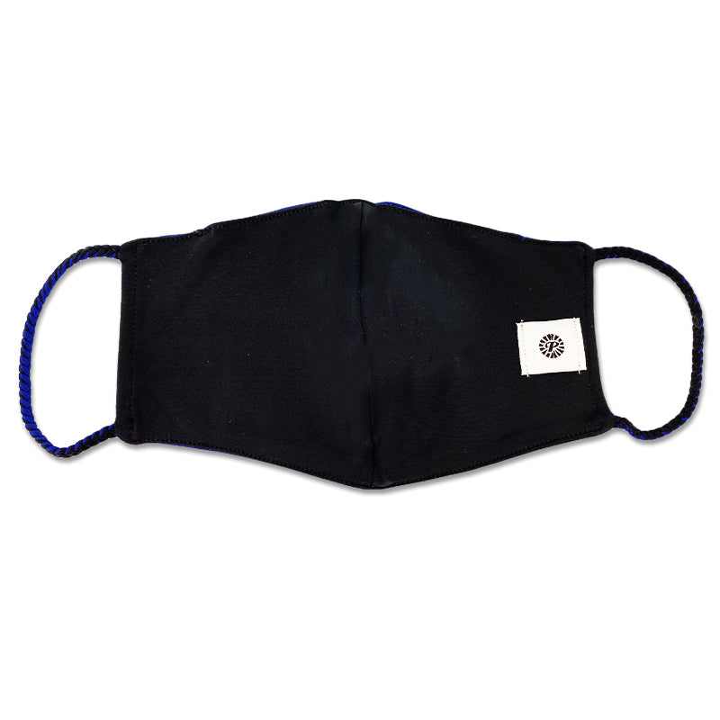 Navy and Black Double Layer Pom Face Mask