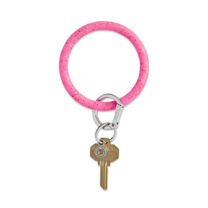 Tickled Pink Confetti Silicone Keyring