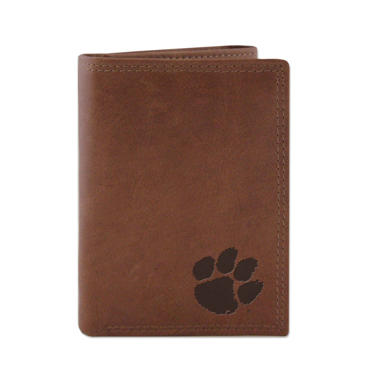 Clemson Embossed Leather Trifold