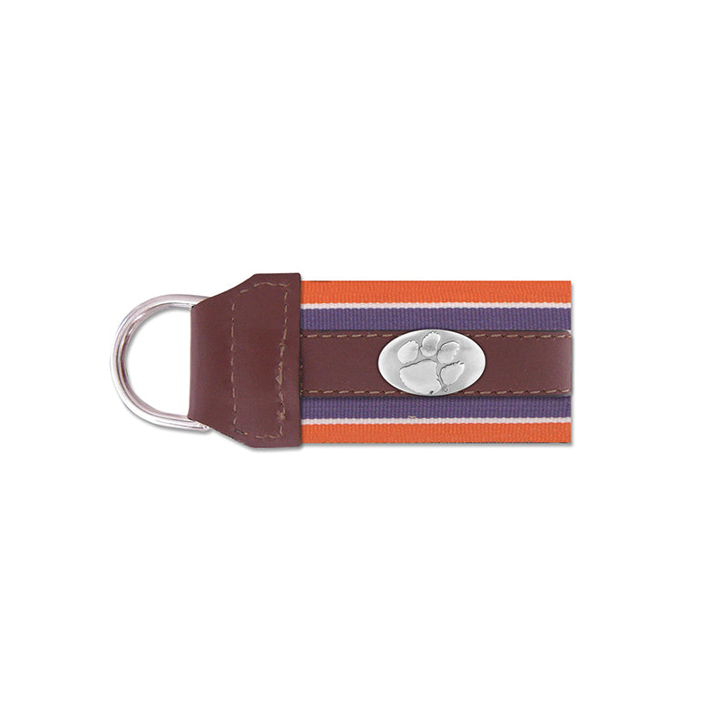 Clemson Concho Leather Key Fob