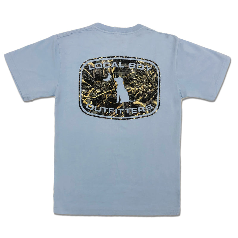 Timber Camo Patch Short Sleeve T-Shirt in Chambray