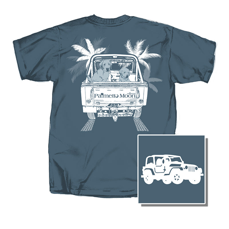 Jeep with Puppies Short Sleeve T-Shirt in Mint and Navy