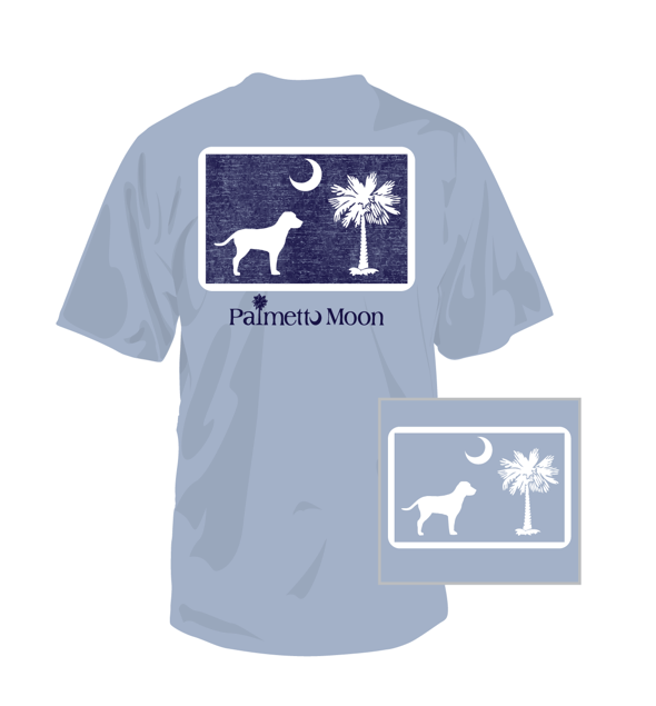 Dog Pledge To The Moon Short Sleeve T-Shirt in Light Blue