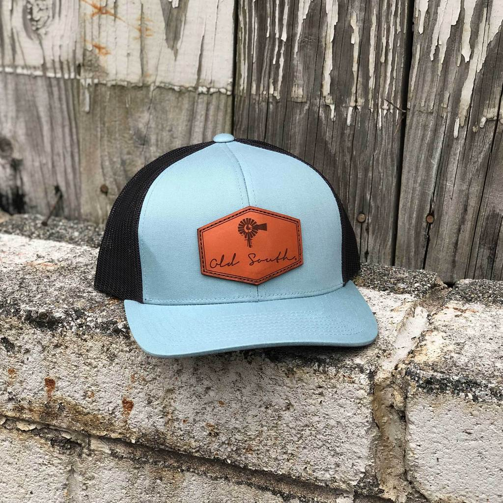 93fe02baa17b7 Signature Leather Trucker Hat Smoke Blue Charcoal. Old South