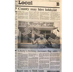 Liberty's Birthday Increases Flag Sales - July 3, 1986.