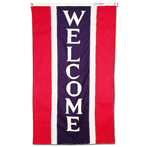 Vertical Red White Blue Welcome Real Estate Attention Flag