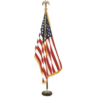 Indoor Mahogany Flag Set with Signature U.S. Flag