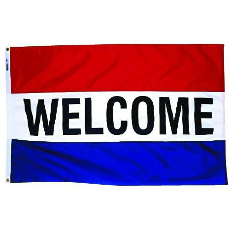 Red white and blue horizontal welcome real estate flag