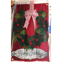 Christmas Wreath House Flag