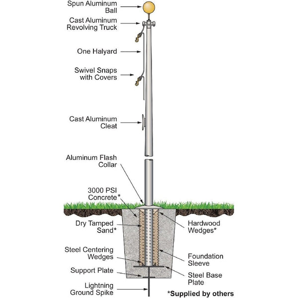 In-Ground One-Piece Flagpole 15' - 20'