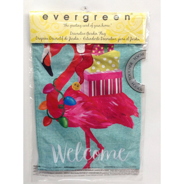 Holiday Flamingo Garden Flag