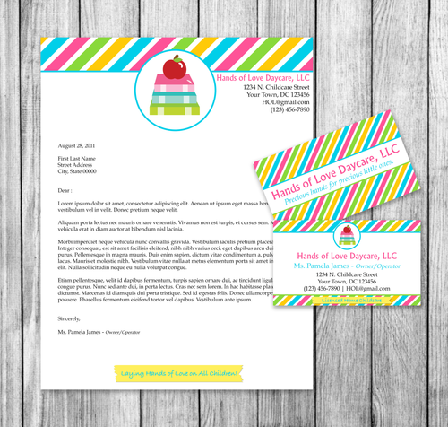 Microsoft Word Childcare Business Card and Letterhead