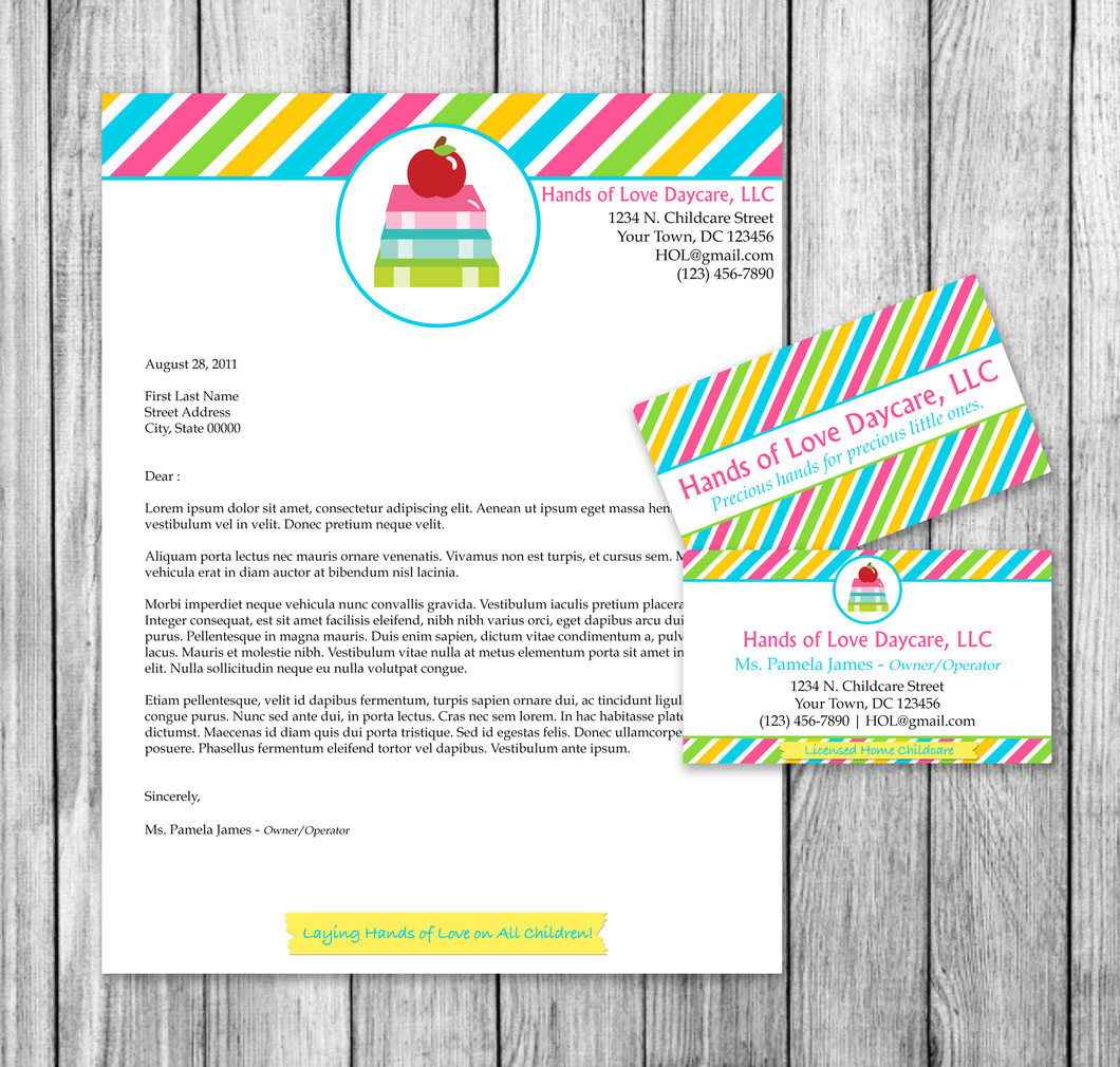 Microsoft Word Childcare or Daycare Business Stationery Set | My ...