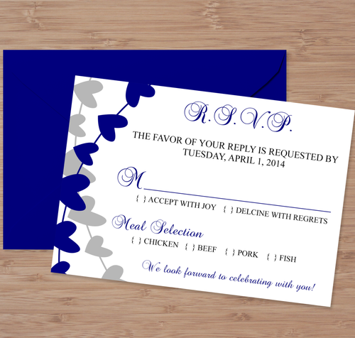 Navy Blue and Silver Microsoft Word Wedding RSVP Card Template