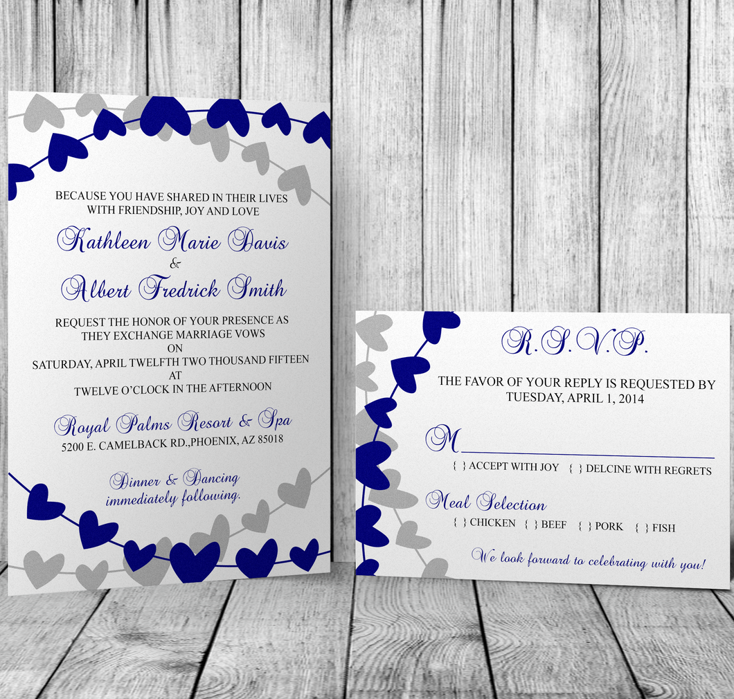 String of Hearts Wedding Set - Custom Editing - Creative By Design Group