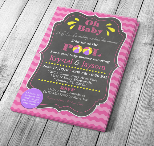 Microsoft Word Pool Party Baby Shower Invitation Template