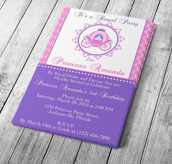 Microsoft Word Princess Carriage Invitation Template