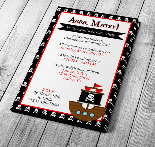 Microsoft Word Pirate Themed Birthday Invitation Template
