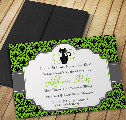 Scary Cat Halloween Party Invitation