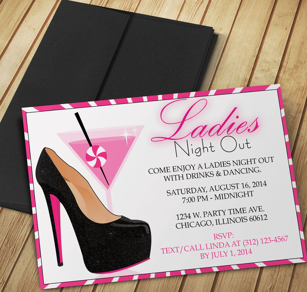 Drinks & Dancing Ladies Night Out Invite - Custom Editing - Creative By Design Group