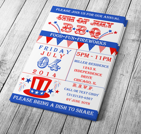 Vintage 4th of July Invite - Download & Edit Template - Creative By Design Group