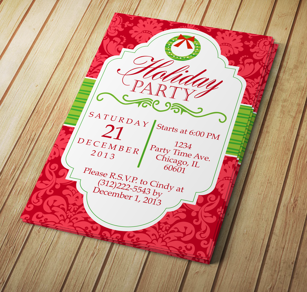 Holiday Party Microsoft Word Invitation Template | My DIY Designs