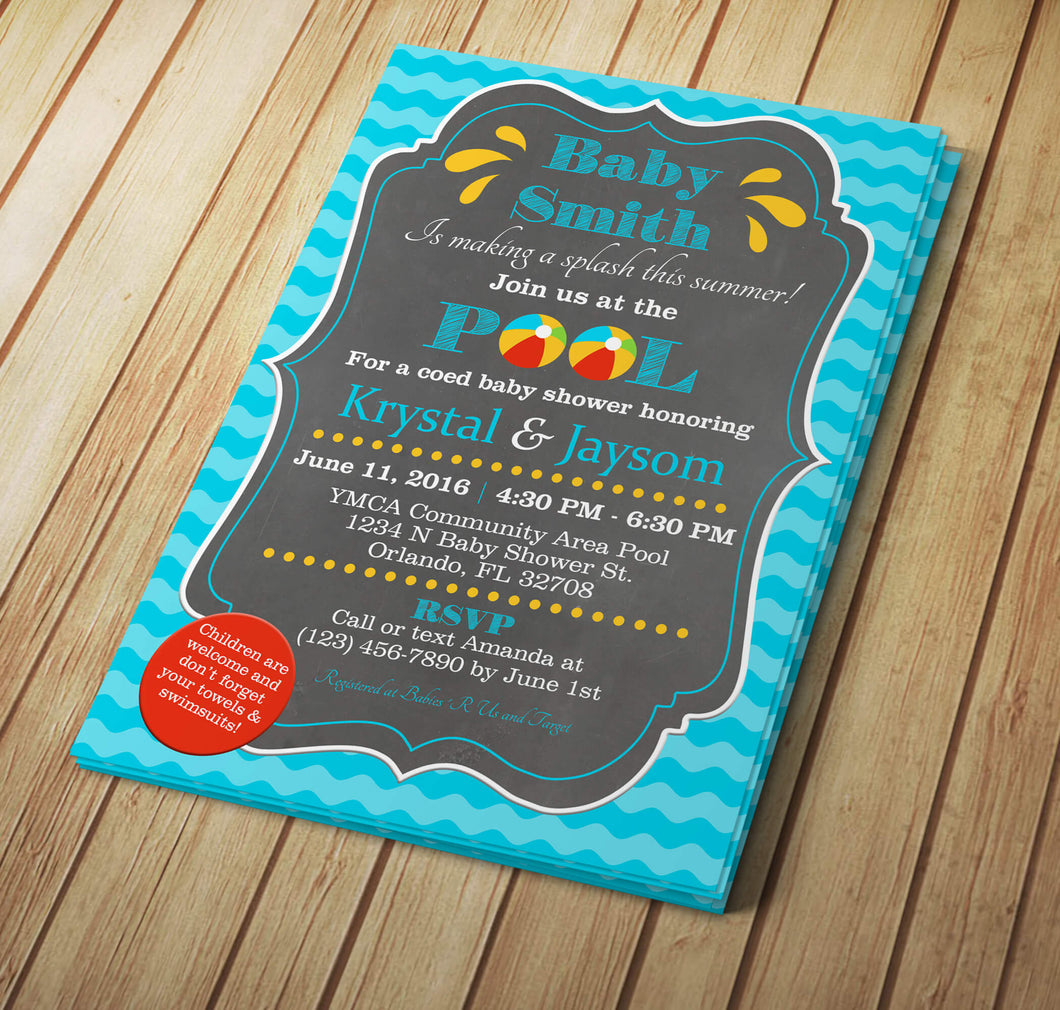 Exelent summer pool party invitations gallery invitations design drag drop pool party baby shower invitation creative by design filmwisefo