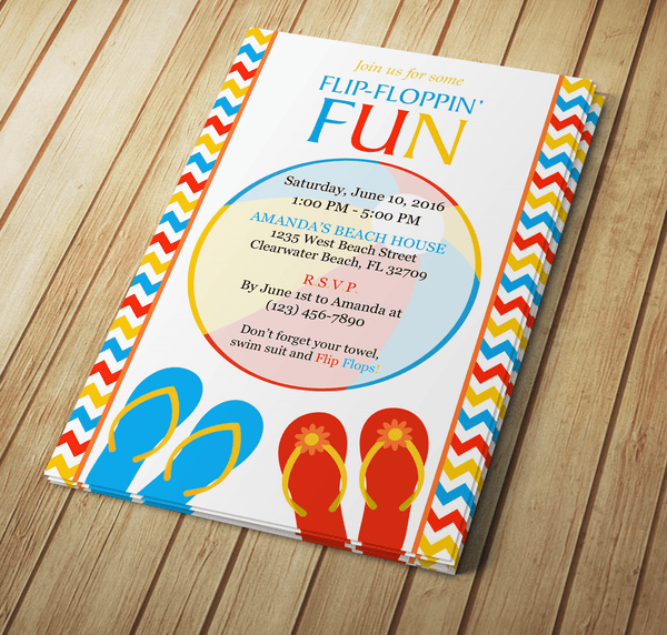 Summer Flip-Flop Invite - Download & Edit Template - Creative By Design Group