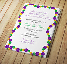 Mardi Gras Beads Invite - Download & Edit Template - Creative By Design Group