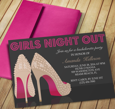 Microsoft Word High Heels Girls Night Out Invitation Template