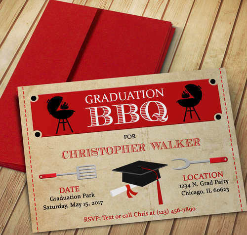 Microsoft Word BBQ Graduation Party Invitation Template