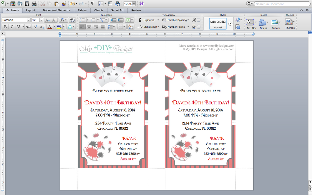 Microsoft Word Poker Party Invitation Template | My DIY Designs