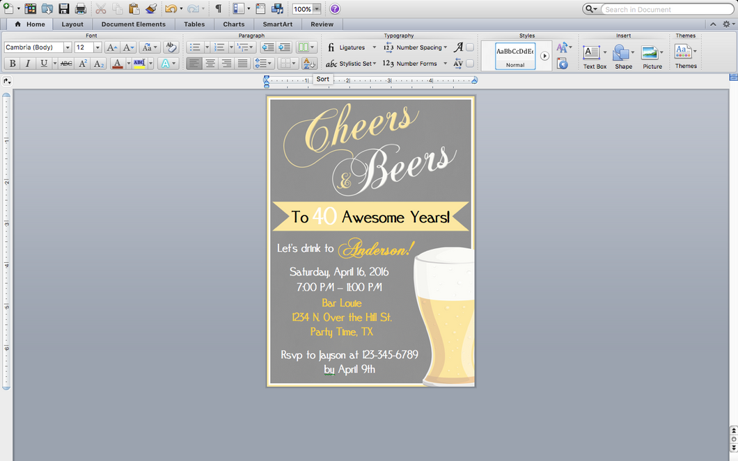 Microsoft Word Cheers and Beers Invitation Template