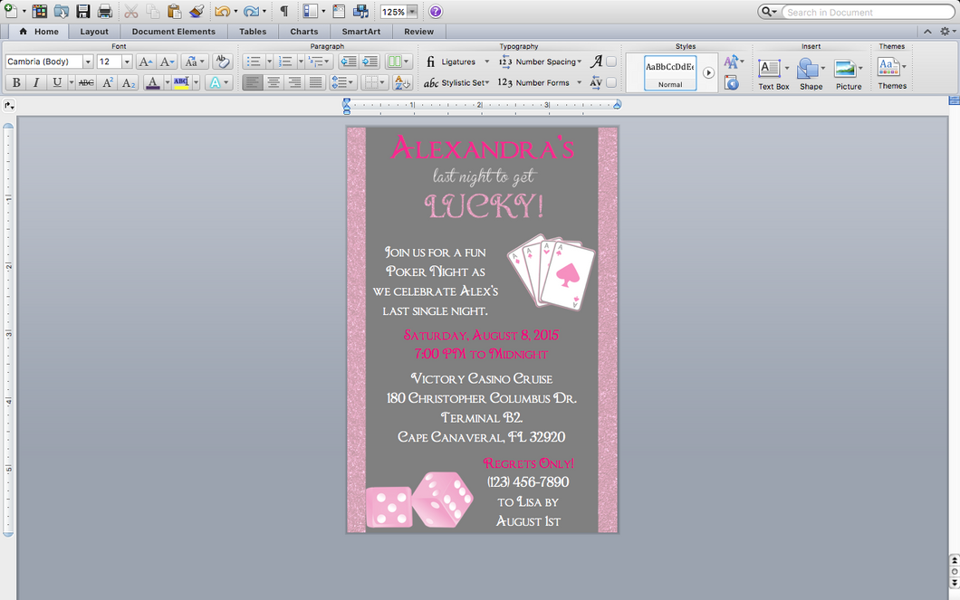 Microsoft Word Girls Poker Party Invitation Template | Creative By ...