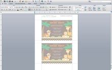 Safari Party Birthday Microsoft Word Invitation