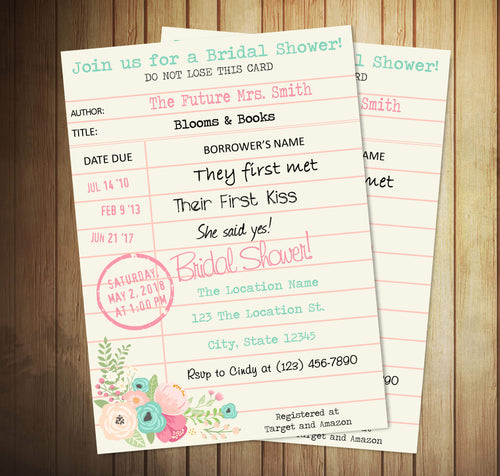 Library Card Bridal Shower Invite - Custom Editing - Creative By Design Group