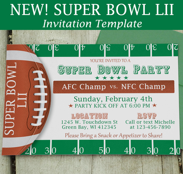 Super Bowl LII Invite - Download & Edit Template - Creative By Design Group