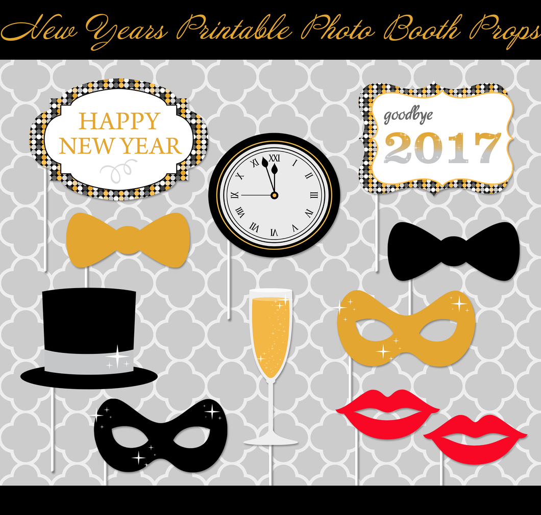 New Year's Photo Props - Download & Print