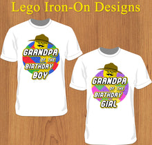 Grandpa of the Birthday Kid Lego Iron-on Shirt Design Template