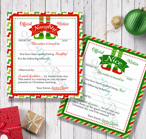 Shelf Elf Printable Naughty and Nice Cards