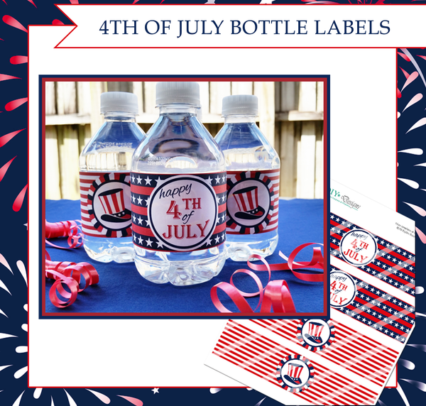 4th of July Water Bottle Labels - Print-Ready Template - Creative By Design Group