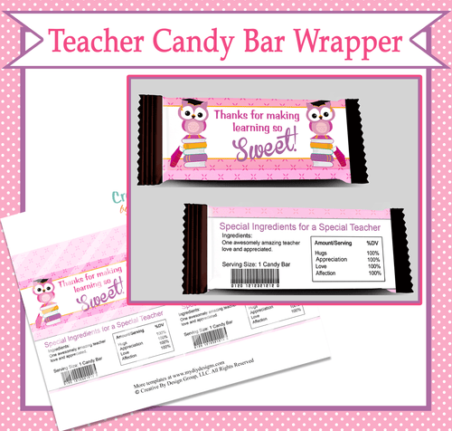Teacher Candy Bar Wrapper - Print-Ready Template - Creative By Design Group