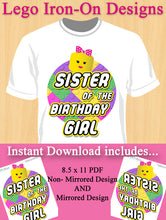 Sister of the Birthday Girl Lego Iron-on Shirt Design Template