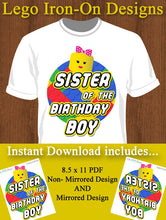 Sister of the Birthday Boy Lego Iron-on Shirt Design Template