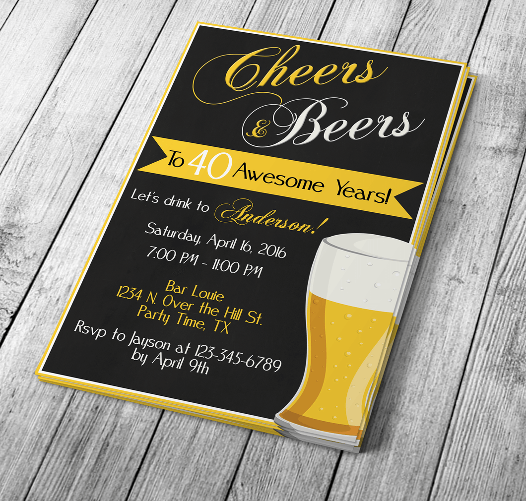 Cheers & Beers Drop & Drop Invitation Template | Creative By Design Group